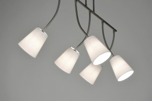 hanglamp 71325: modern, wit, stof, langwerpig