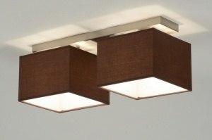 plafondlamp 71461: modern, bruin, staal rvs, stof