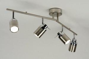 plafondlamp 71488: modern, staalgrijs, aluminium, glas