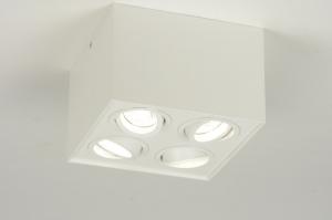 plafondlamp 71528: modern, aluminium, wit, mat