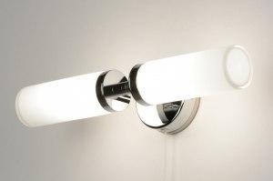 wandlamp 71557: modern, glas, wit opaalglas, metaal