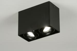 plafondlamp 71792: modern, design, zwart, mat