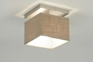 plafondlamp 71810: modern, bruin, taupe, staal rvs
