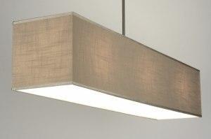 hanglamp 71813: modern, taupe, stof, rechthoekig