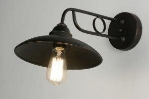 wandlamp 71945: klassiek, retro, metaal, roestbrons