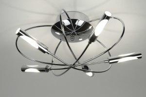 plafondlamp 71990: modern, eigentijds klassiek, chroom, metaal