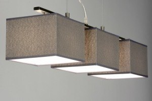hanglamp 72021: modern, grijs, stof, rechthoekig