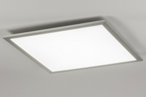 plafondlamp 72064: modern, kunststof, staal rvs, vierkant