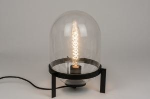 tafellamp 72251: modern, zwart, mat, glas