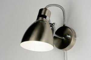 wandlamp 80720: modern, retro, staalgrijs, staal rvs