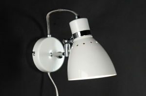 wandlamp 80721: modern, retro, wit, glans