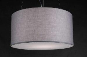 hanglamp 80777: modern, grijs, stof, rond