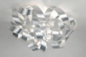 plafondlamp 82981: aluminium, geschuurd aluminium, rond