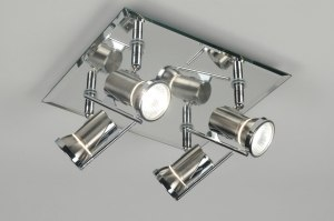 plafondlamp 83841: modern, glas, metaal, vierkant