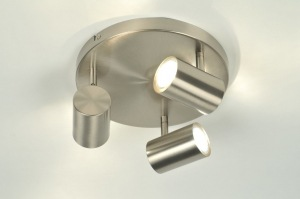 plafondlamp 84203: modern, staal , rvs, rond