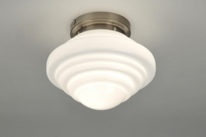 plafondlamp 87620: modern, retro, glas, wit opaalglas