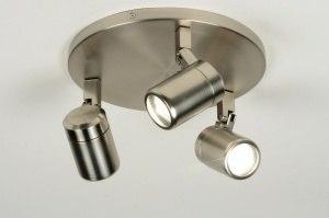 plafondlamp 87881: modern, staal , rvs, rond
