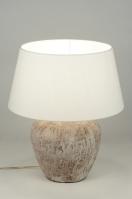 tafellamp 88385: klassiek, keramiek, stof, rond
