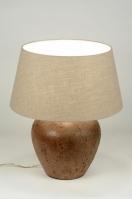 tafellamp 88386: klassiek, keramiek, stof, bruin