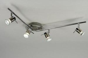 plafondlamp 88474: modern, staalgrijs, metaal, langwerpig