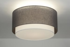 plafondlamp 88529: modern, antraciet donkergrijs, stof, rond