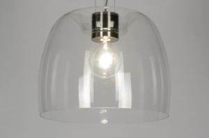 hanglamp 88906: modern, glas, helder glas, rond