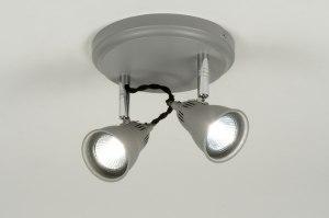 plafondlamp 88918: modern, metaal, grijs, rond