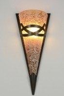 wandlamp 88944: klassiek, glas, roestbrons, bruin