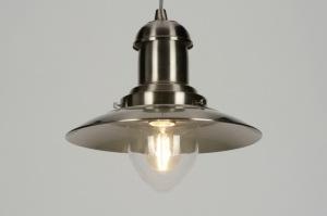 hanglamp 88945: staalgrijs, glas, helder glas, staal rvs