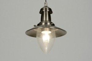 hanglamp 88948: industrie, look, staalgrijs, glas