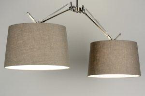 hanglamp 88985: modern, taupe, stof, langwerpig