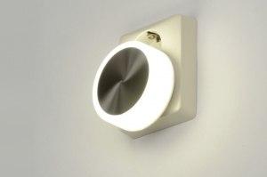 wandlamp 89003: aluminium, kunststof, wit, glans