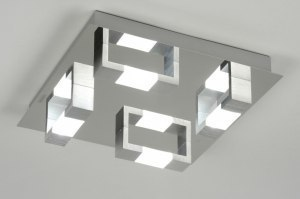 plafondlamp 89145: modern, aluminium, geschuurd aluminium, glas
