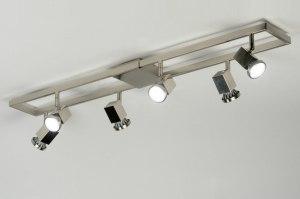 plafondlamp 89238: modern, design, staal , rvs