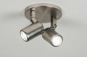 plafondlamp 89383: modern, glas, staal , rvs