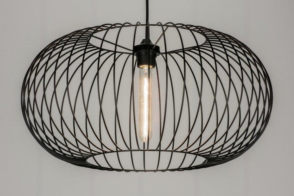 Hanglamp 10136: modern, metaal, zwart, rond #0