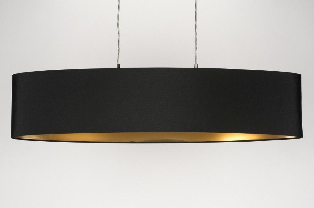 pendelleuchte 10180 modern schwarz stoff oval. Black Bedroom Furniture Sets. Home Design Ideas