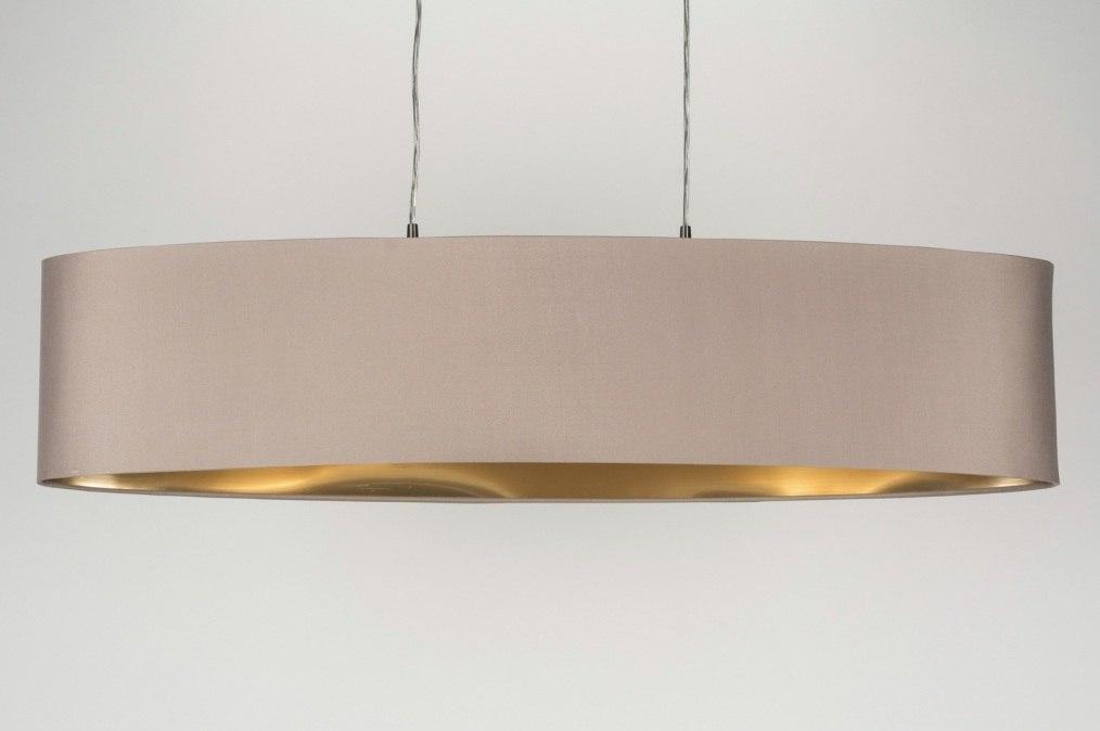 pendelleuchte 10182 modern stoff taupe oval. Black Bedroom Furniture Sets. Home Design Ideas