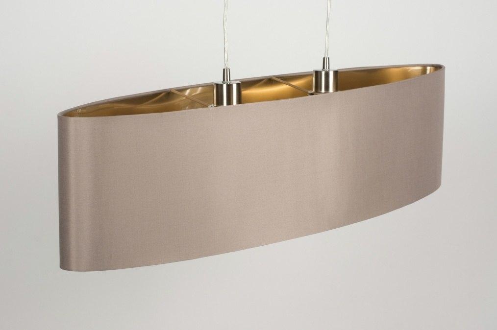Pendelleuchte 10182 modern stoff taupe oval for Pendelleuchte oval stoff