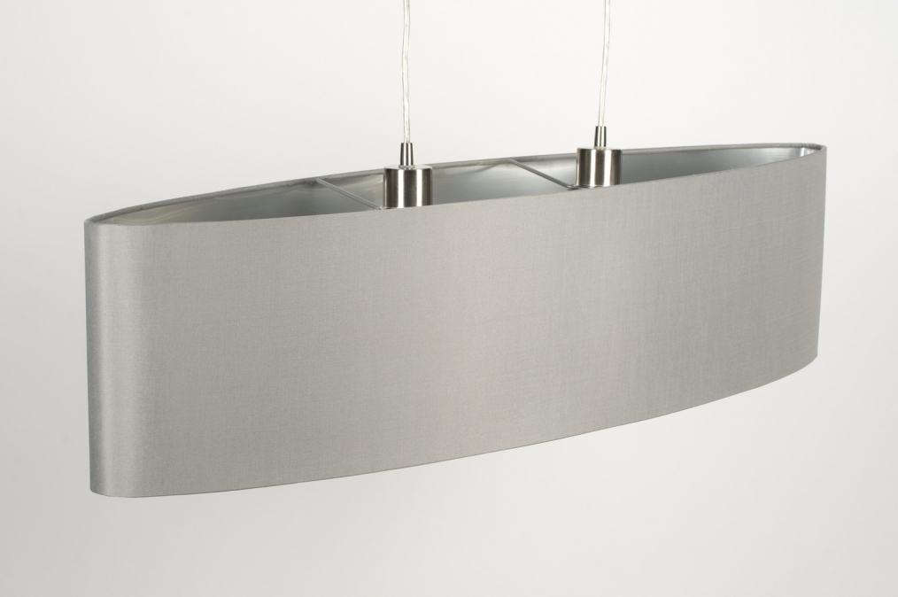 Pendelleuchte 10186 modern grau silber stoff for Pendelleuchte oval stoff