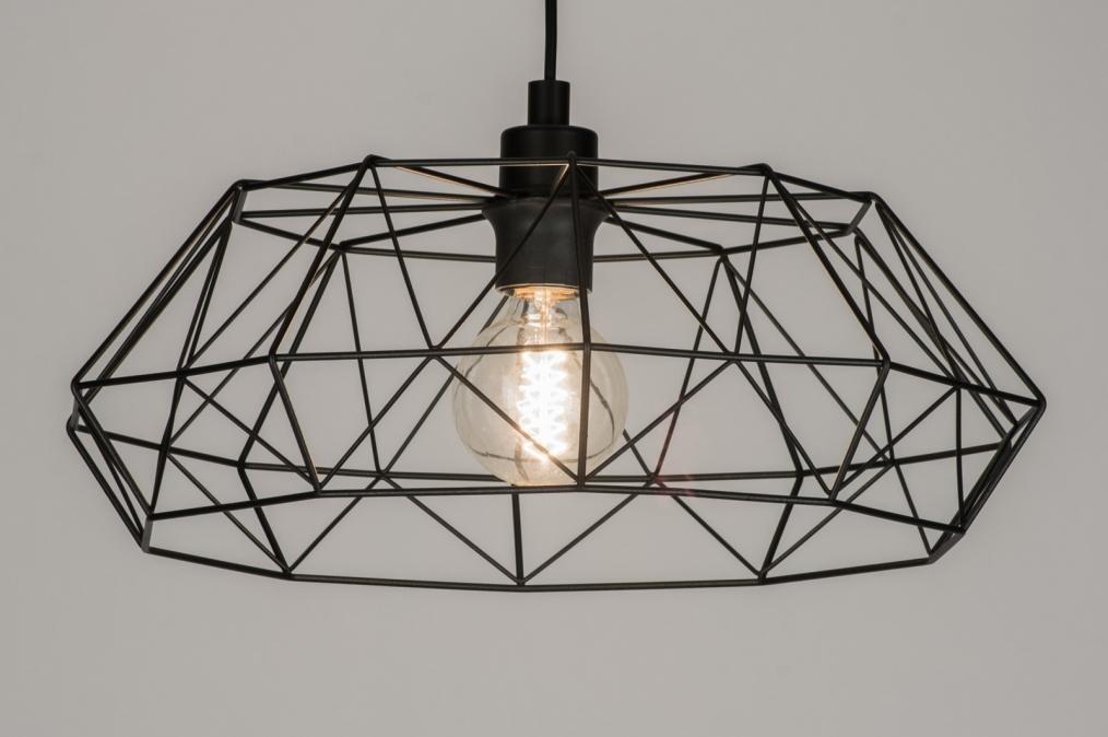 Hanglamp 10294: modern, landelijk, rustiek, zwart #0