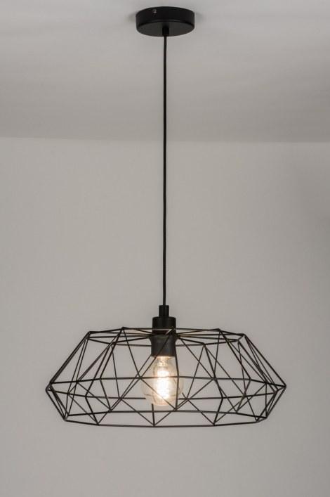 Hanglamp 10294 modern landelijk rustiek zwart - Lampara de techo para dormitorio ...