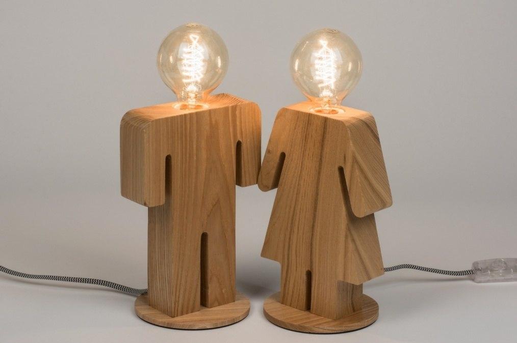 Tafellamp 10604 modern landelijk rustiek design for Design lamp hout