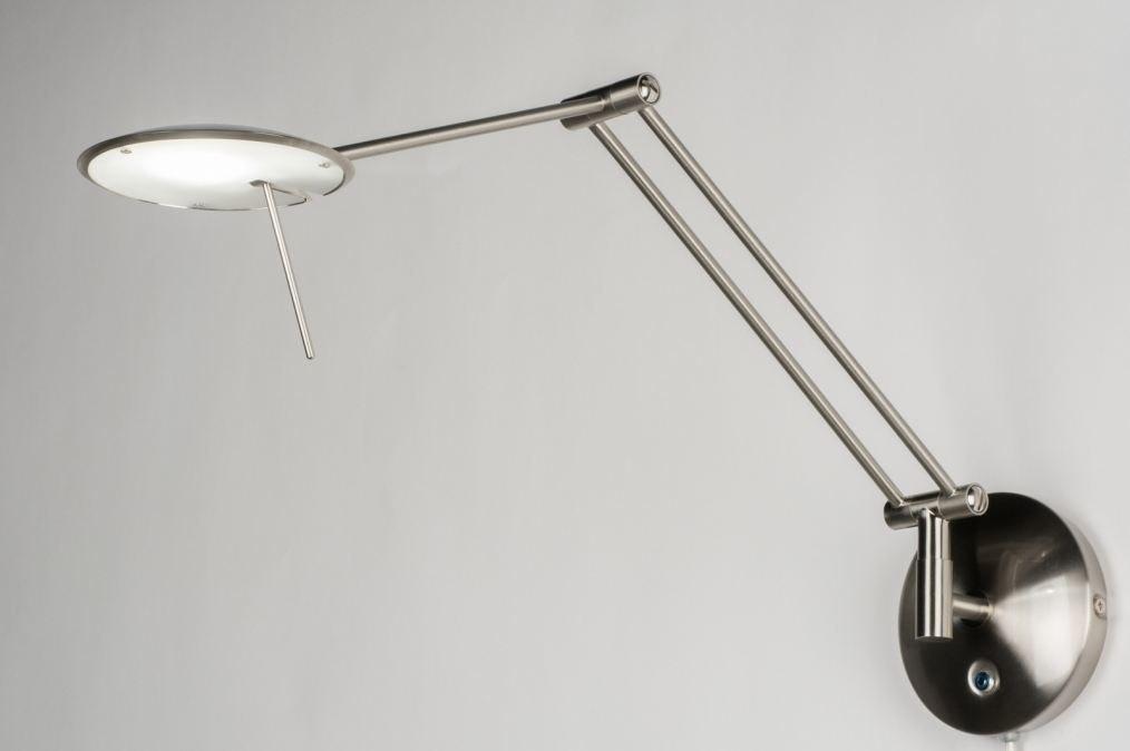 Wandlamp 10784: modern, staalgrijs, metaal, staal rvs #0