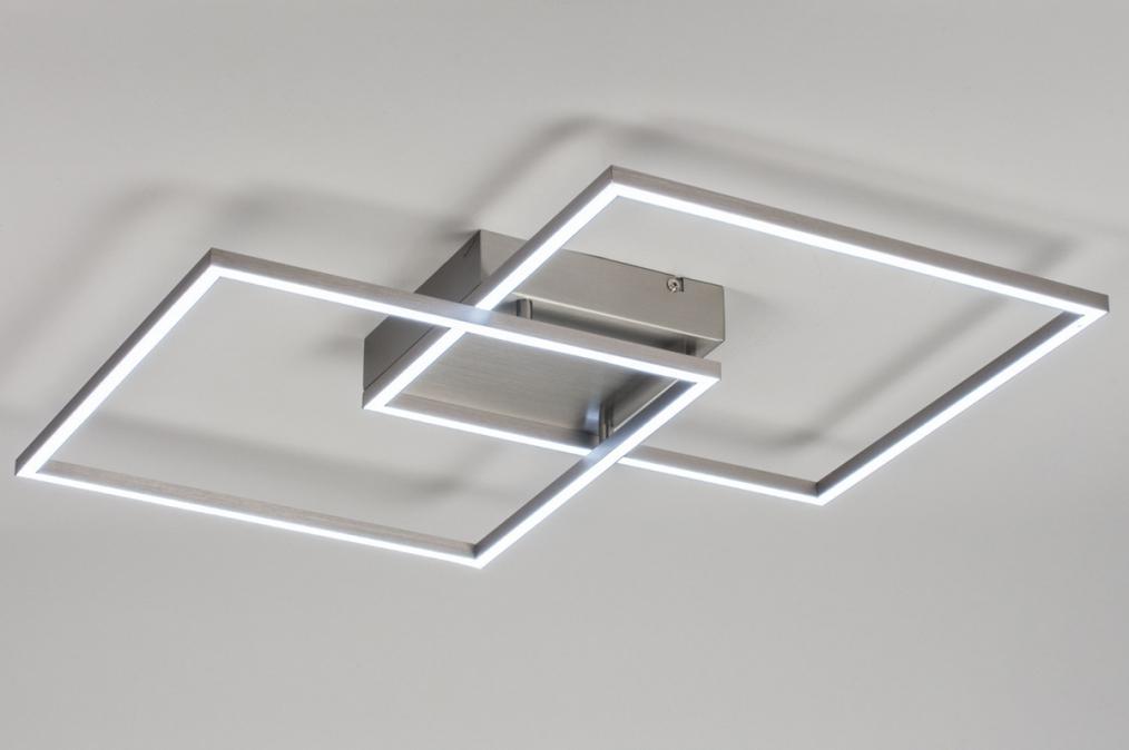 Plafondlamp 10839: design, modern, staal rvs, metaal #0