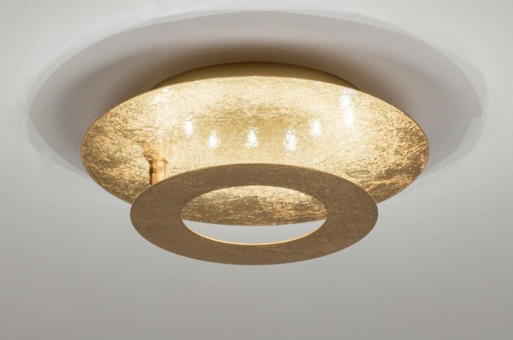 Plafondlamp 10843: modern, eigentijds klassiek, goud, metaal #0