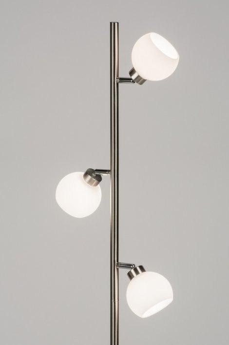 Vloerlamp 10881: modern, retro, staalgrijs, glas #0