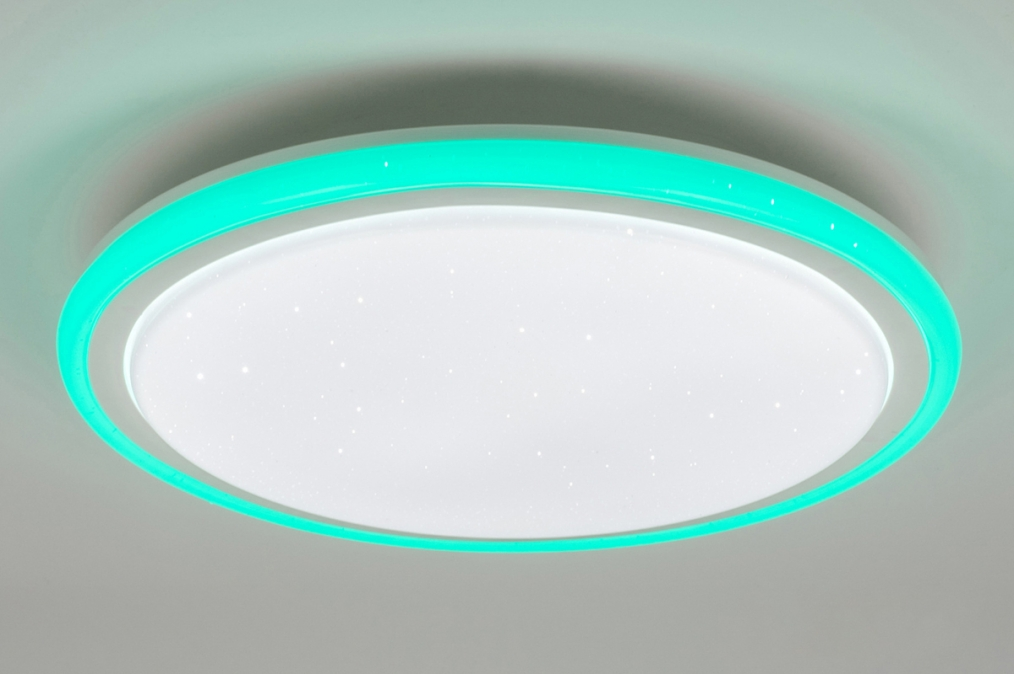 Plafondlamp 10894: modern, RGB multicolor, wit, kunststof #0