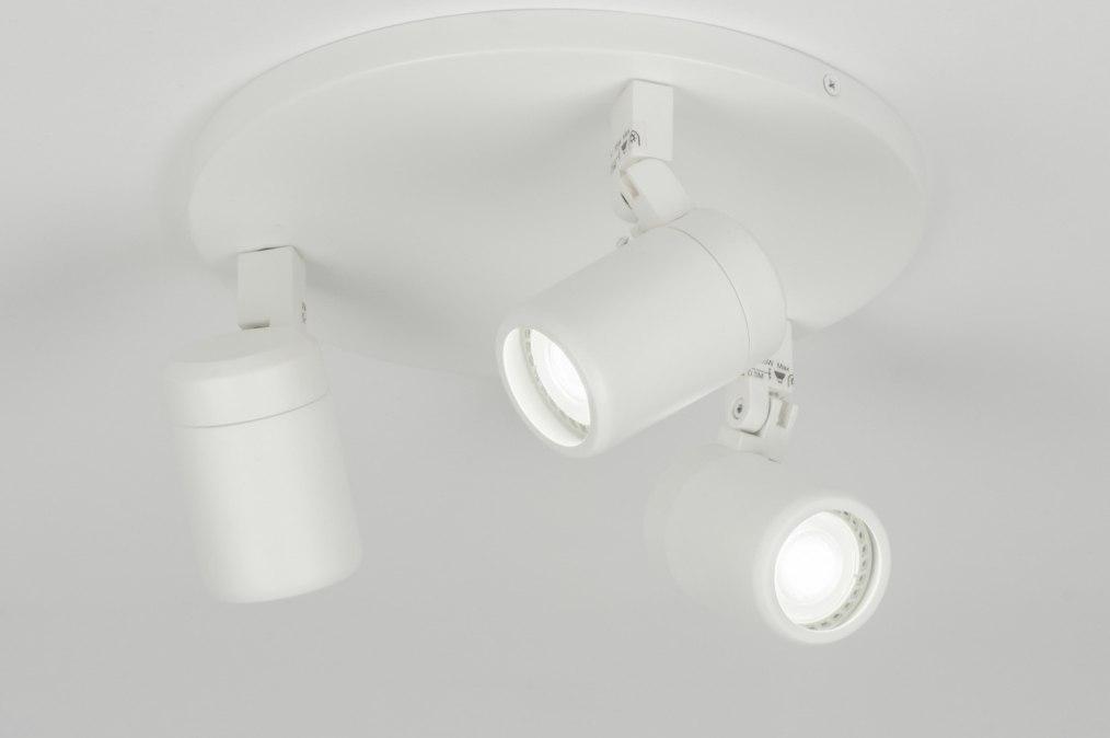 Plafondlamp 11307: modern, metaal, wit, mat #0