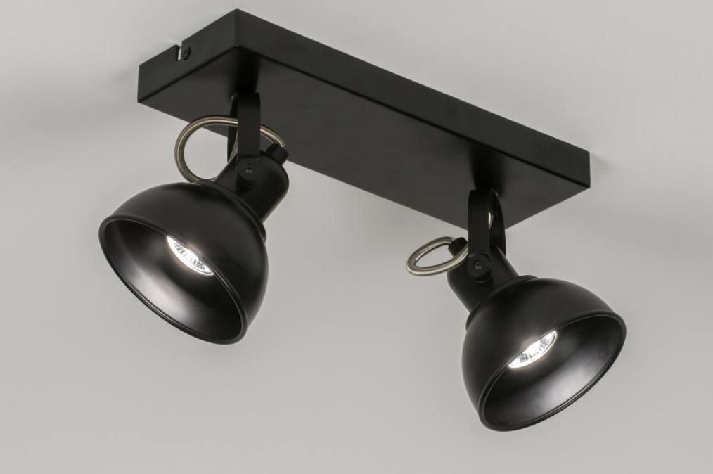 Plafondlamp 11377: modern, metaal, zwart, rechthoekig #0